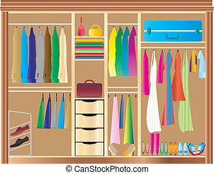 A Fitted Wardrobe filled with mans and womans clothes, shoes, handbags and luggage