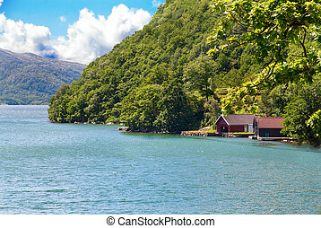 A Fjord Landscape in Norway with water, wood and houses