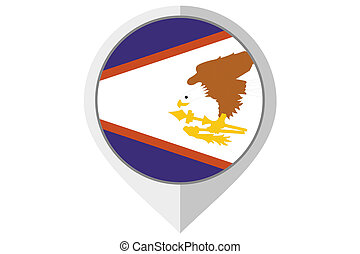 Flag Illustration inside a pointed of the country of American Samoa