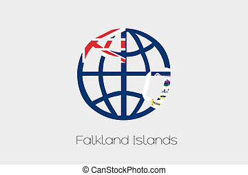 Flag Illustration inside a world icon of Falkland Islands