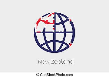 Flag Illustration inside a world icon of New Zealand