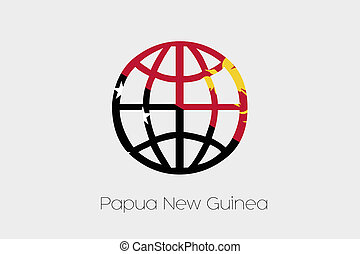 Flag Illustration inside a world icon of Papua New Guinea