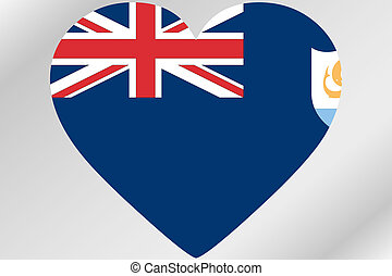 Flag Illustration of a heart with the flag of Anguilla