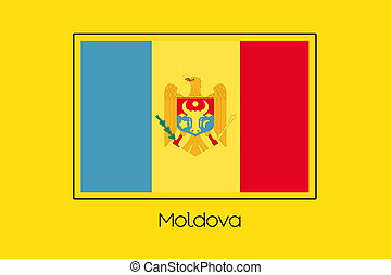 Flag Illustration of the country of Moldova