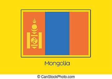 Flag Illustration of the country of Mongolia