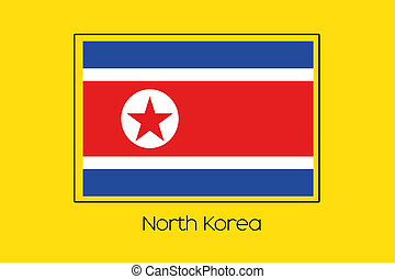 Flag Illustration of the country of North Korea