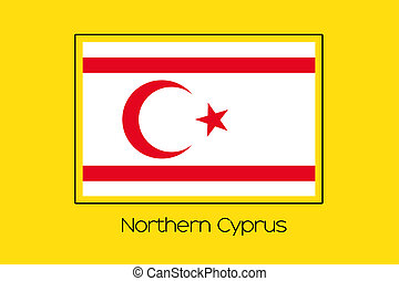 Flag Illustration of the country of Northern Cyprus