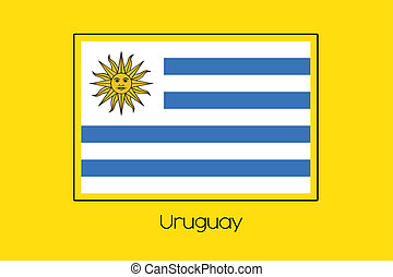 Flag Illustration of the country of Uruguay