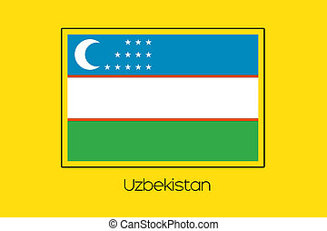 Flag Illustration of the country of Uzbekistan
