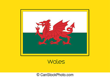 Flag Illustration of the country of Wales