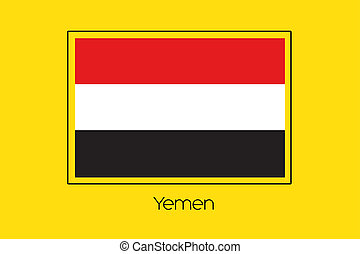 Flag Illustration of the country of Yemen