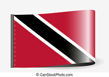Flag Illustration on a textile label for the country of Trinidad and Tobago