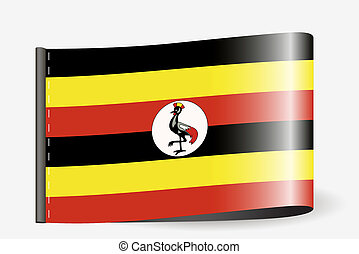 Flag Illustration on a textile label for the country of Uganda