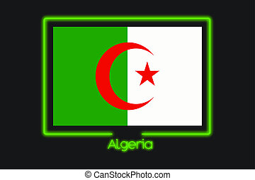 Flag Illustration With a Neon Outline of Algeria