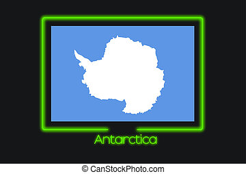 Flag Illustration With a Neon Outline of Antartica - A Flag...