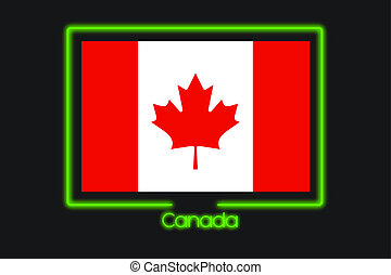 Flag Illustration With a Neon Outline of Canada