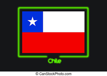 Flag Illustration With a Neon Outline of Chile