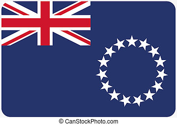 Flag Illustration with rounded corners of the country of Cook Islands