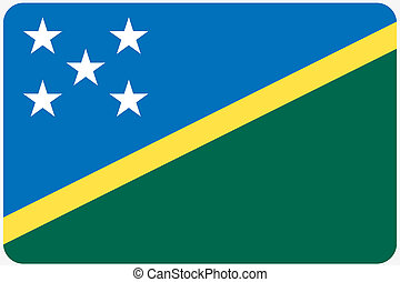 Flag Illustration with rounded corners of the country of Solomon Islands