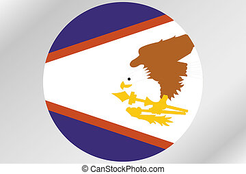 Flag Illustration within a circle of the country of American Samoa