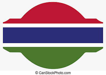 Flag Illustration within a Sign of the country of Gambia - A...