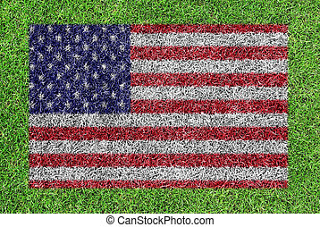 a flag of American as painting on green grass background