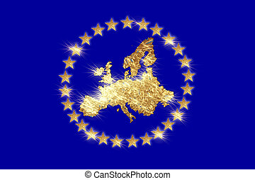 A flag of Europe with European continent by starlight