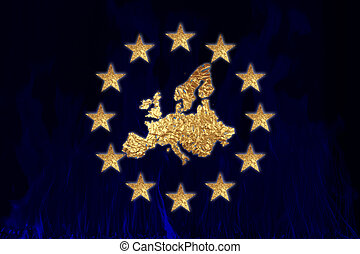 A flag of Europe with European continent