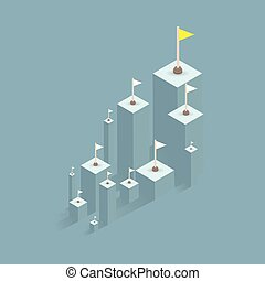 A flag of success. bar graph business to the success of the financial schedule. Leader, winner and concept of success. Vector illustration