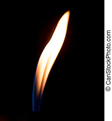 a flame of fire from the cigarette lighter on a black background