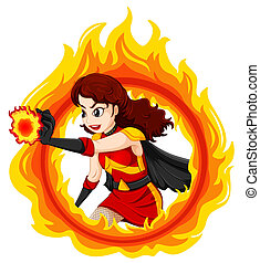 A flaming female superhero