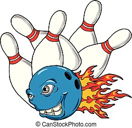 Cartoon illustration of a monster bowling ball taking out some bowling pins