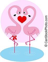 a flamingo couple in love