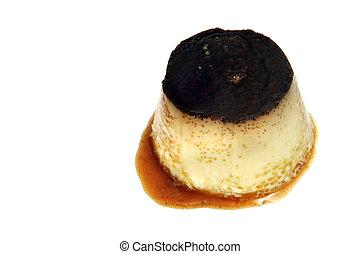 flan - a flan dessert on a white background