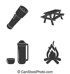 A flashlight, a table with a bench, a thermos with a cup, a caster. Camping set collection icons in black style raster,bitmap symbol stock illustration web.