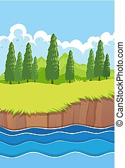 A flat nature river landscape