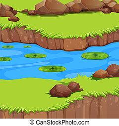 A flat river landscape
