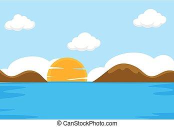 A flat sea scene