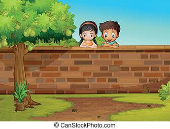 a, flicka, och, a, pojke, lutande, den, konkret, staket