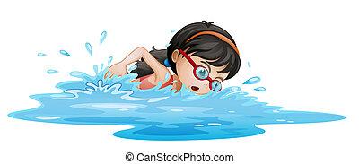 a, flicka, simning, med, goggles
