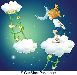 a, flicka, skyarna, med, a, stege, växt