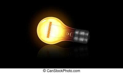 A flickering Innovation Light bulb