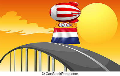 A floating balloon with the flag of Netherlands -...