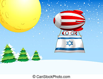 A floating balloon with the flag of Israel - Illustration of...
