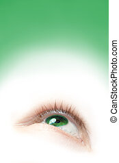 A floating green eye illustration looking up with copy space
