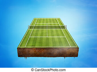 Tennis Court - A floating green Tennis Court. Sports concept...