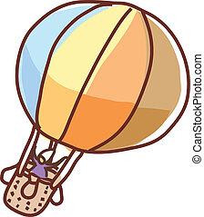 A floating hot-air balloon