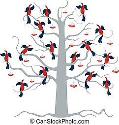 A flock of birds sits on a rowan tree