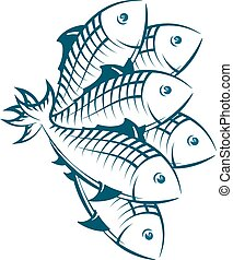 A flock of fish silhouetted, seafood symbol