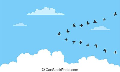 A flock of migrating birds